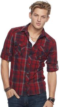 Rock & Republic Men's Plaid Heathered Stretch Button-Down Shirt