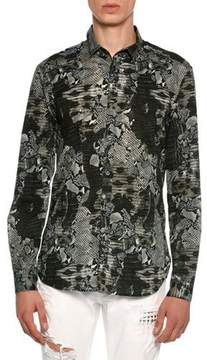 Just Cavalli Snakeskin Print Stretch-Cotton Shirt