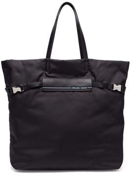 Prada Logo Patch Nylon Tote Bag - Womens - Black