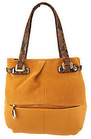 B. Makowsky As Is Suede & Leather Tote Bag with Embossed Trim