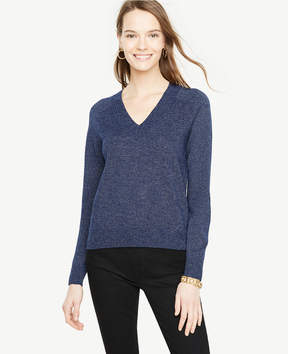 Ann Taylor Metallic Shimmer V-Neck Sweater