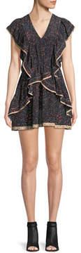 IRO Jicka V-Neck Printed Silk Dress with Ruffled Frills