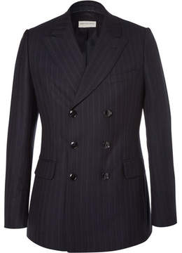 Dries Van Noten Blue Slim-Fit Double-Breasted Pinstriped Wool Suit Jacket