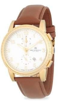 Bruno Magli Round Chronograph Leather-Strap Watch