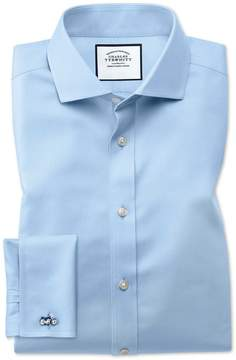 Charles Tyrwhitt Classic Fit Spread Collar Non-Iron Twill Sky Blue Cotton Dress Shirt French Cuff Size 15/33