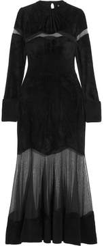 Alexander McQueen Mesh-paneled Fleece Midi Dress - Black