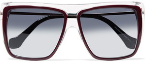 Balenciaga Square-frame Acetate And Gold-tone Sunglasses - Burgundy