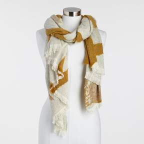 World Market Mustard and Ivory Floral Scarf