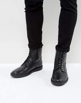 Zign Shoes Leather Lace Up Boots with Felt Lining
