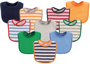 Luvable Friends Green Stripe Bib Set - Infant