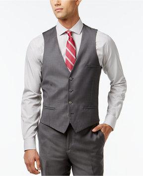 Bar III Mid-Grey Slim-Fit Pindot Vest