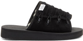 Suicoke Black Suede and Shearling Mura-M Slides
