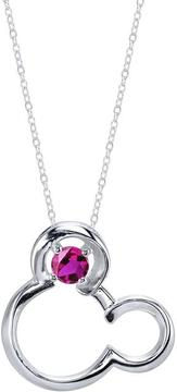 Disney Sterling Silver Mickey Mouse Pendant Necklace with Lab-Created Ruby
