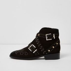 River Island Womens Black studded buckle side ankle boots