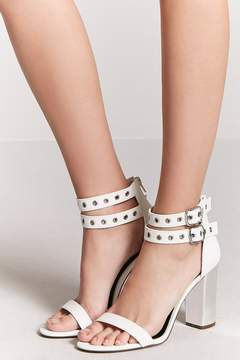 Forever 21 Faux Leather Grommet-Buckle Heels