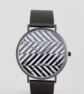 Reclaimed Vintage Inspired Stripe Mesh Watch In Black Exclusive To ASOS