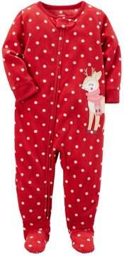 Carter's Toddler Girl Polka-Dot Reindeer Microfleece Footed One-Piece Pajamas