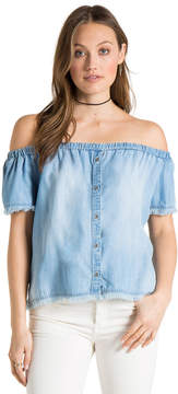 Bella Dahl Frayed Off Shoulder Button Down-Vintage Zion Wash-XS