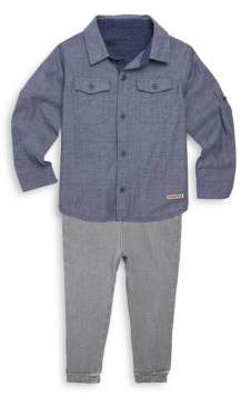 Hudson Baby's Two-Piece Chambray Sportshirt & Pants Set