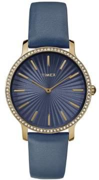 Timex Women's Metropolitan Starlight 34mm Navy/Gold-Tone Watch, Leather Strap