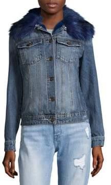Driftwood Geena Faux Fur Collared Denim Jacket