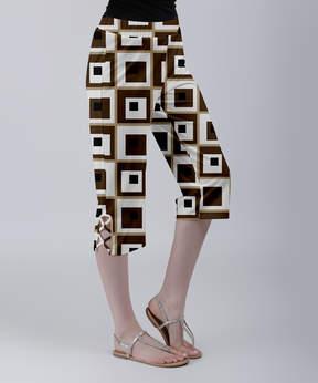 Lily Brown & White Geometric Crisscross Capri Pants - Women & Plus