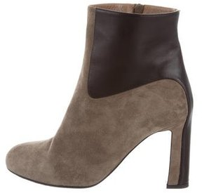 Hermes Suede Round-Toe Ankle Boots