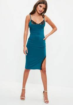 Missguided Blue Slinky Lace Insert Midi Dress