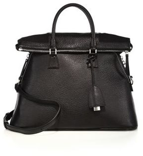 Maison Margiela Large Fold-Over Leather Top-Handle Tote