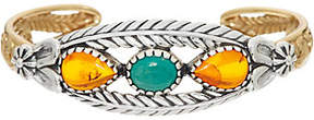 American West Sterling Silver & Brass Amber & Turquoise Cuff Bracelet
