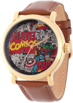 Marvel Comics Mens Brown Strap Watch-Wma000049
