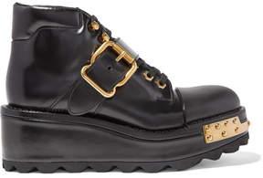 Prada Embellished Leather Wedge Ankle Boots - Black