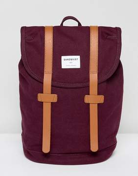 Sandqvist Stig Organic Cotton Backpack With Leather Straps