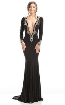 Johnathan Kayne 7033 Plunging Trimmed Long-sleeve Evening Gown