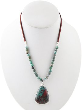 Barse Mixed Agate Bead Pendant Necklace