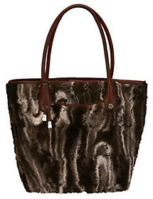 B. Makowsky Faux Fur Satchel with Leather Trim