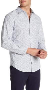 Perry Ellis Slim Fit Long Sleeve Floral Print Shirt