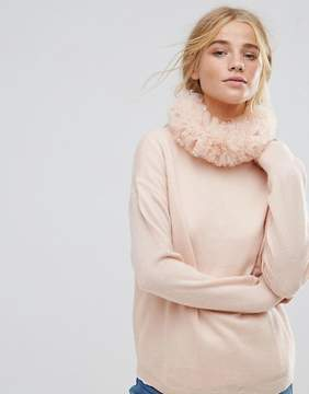 Asos Frill Ruffle Collar In Pink Holographic Spot Mesh