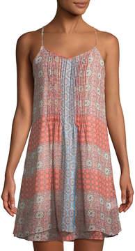 Dex Pintucked Patchwork Mini Dress