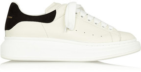 Alexander McQueen Leather And Suede Exaggerated-sole Sneakers - White