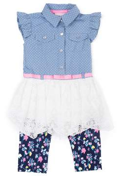 Little Lass Toddler Girl Chambray Lace Tunic & Floral Capri Leggings Set