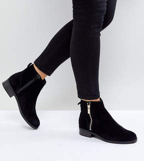 New Look Wide Fit Suede Flat Ankle Boot