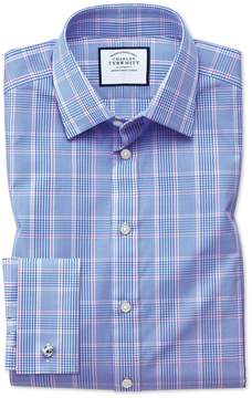Charles Tyrwhitt Slim Fit Prince Of Wales Check Blue Cotton Dress Shirt French Cuff Size 14.5/33