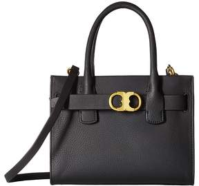 Tory Burch Gemini Link Leather Small Tote Tote Handbags - BLACK - STYLE