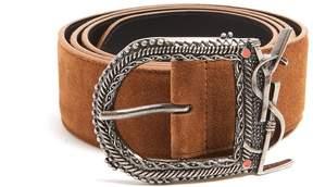 Saint Laurent Logo-engraved suede belt