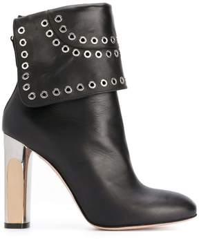 Alexander McQueen Bi-coloured Sculpted Heel Eyelet ankle boots