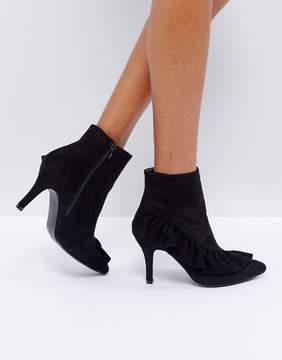 Glamorous Black Ruffle Heeled Ankle Boots