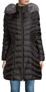 Dawn Levy Fox Fur-Trimmed Down Coat