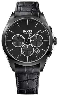 HUGO BOSS Onyx Chronograph Black Steel Mens Strap Watch Black Dial Calendar 1513367