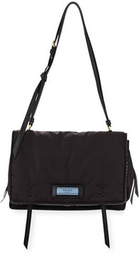 Prada Etiquette Large Nylon Flap Crossbody Bag